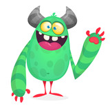 Vector cute cartoon alien. Halloween monster character