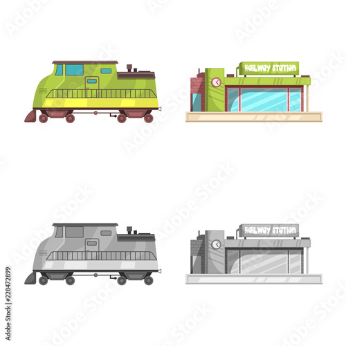 Poster Vector design of train and station icon. Collection of train and ticket stock symbol for web.