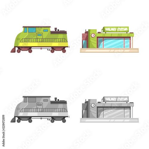 Wektorowy projekt pociągu i staci ikona. Kolekcja pociągu i symbol zapasów biletowych dla sieci.