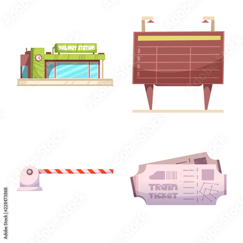 Vector illustration of train and station icon. Set of train and ticket stock vector illustration.