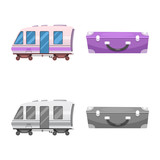 Vector illustration of train and station icon. Collection of train and ticket stock symbol for web.