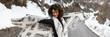 Quadro Joyful woman in winter outdoor