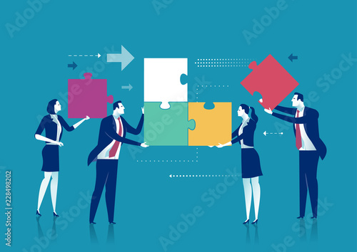 Poster Teamwork. A group of office persons are working on a project. Business vector concept illustration
