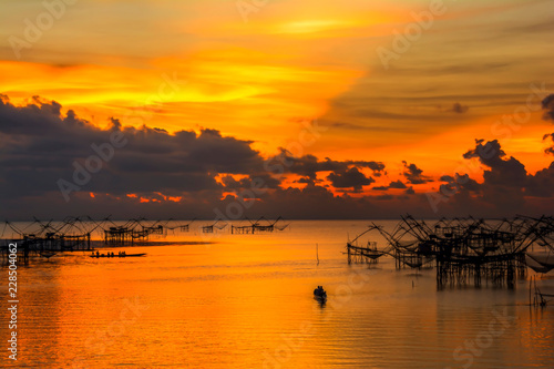 Sunrise at Pakpra village in Phatthalung province in Thailand.