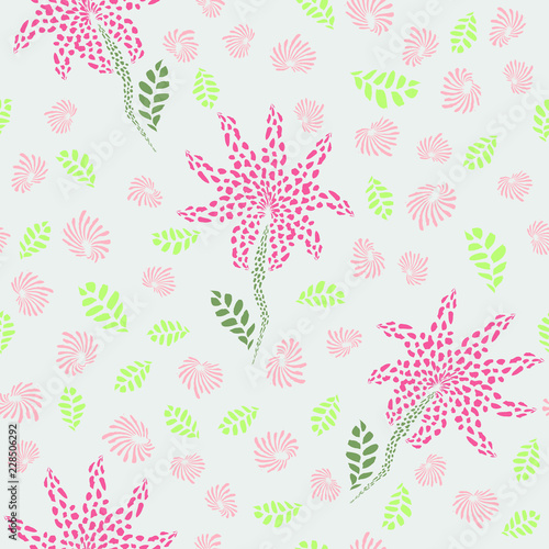 Tropical abstract flowers with leaves seamless pattern. Perfect for fabric, wallpaper, gift wrap - 228506292