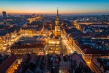 Aerial view on Poznan main square and old city at evening.