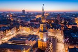 Evening aerial view on Poznan main square and old town.