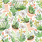 Cute vector seasonal seamless pattern. Growing flowers and plants in the greenhouse. Spring endless garden background. Happy gardening. - 228510638