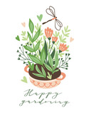 Cute vector seasonal greeting card - Growing flowers in the flower bed. Spring garden background with text 'Happy gardening'. - 228510692