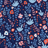 Trendy seamless floral pattern. Fabric design with simple flowers. Vector cute repeated ditsy pattern for baby fabric, wallpaper or wrap paper. - 228510864