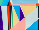 An abstract painting, geometric abstraction with triangular elements. - 228511418