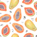 Fruit endless design for fabric, wrap paper or wallpaper. Papaya painted with colored pencils isolated on white  background. Whole fruits and slices in a cut. Food seamless pattern. - 228511838