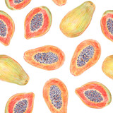 Fruit endless design for fabric, wrap paper or wallpaper. Papaya painted with colored pencils isolated on white  background. Whole fruits and slices in a cut. Food seamless pattern. - 228512433