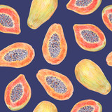 Fruit endless design for fabric, wrap paper or wallpaper. Papaya painted with colored pencils isolated on dark background. Whole fruits and slices in a cut. Food seamless pattern. - 228512491
