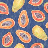 Fruit endless design for fabric, wrap paper or wallpaper. Papaya painted with colored pencils isolated on a blue background. Whole fruits and slices in a cut. Food seamless pattern. - 228514025