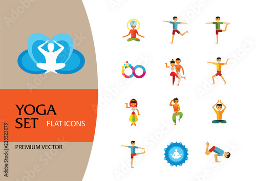 Obraz na płótnie Yoga Icon Set. Infinity Meditation Handstand Virabhadrasana Lotus Position Yoga Sign Man Meditating Yogi Man Doing Yoga Man Doing Exercises Vrksasana Virabhadrasana Virasana