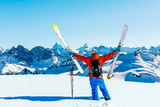 Skitouring with amazing view of swiss famous mountains in beautiful winter powder snow of Alps. - 228525600