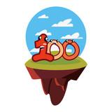 kawaii number one hundred character cartoon - 228527653
