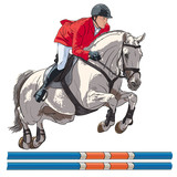 Equestrian, show jumping. An illustration of a rider and horse jumping over an obstacle. - 228527693