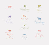 Animals mini floral graphic signs color - 228529217