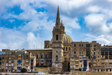 Dome of Our Lady of Mount Carmel church and St Paul's Cathedral in Valletta, Malta