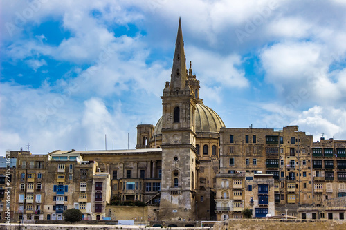 Poster Dome of Our Lady of Mount Carmel church and St Paul's Cathedral in Valletta, Malta