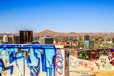 Windhoek downtown city center with walls painted graffity in the foreground, Namibia