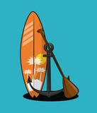 surfboard oar and anchor