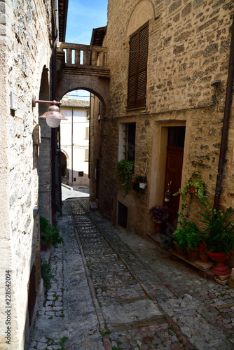 Streets of Spello in Umbria, Italy. - 228542094