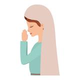 cute mary virgin praying character - 228542615