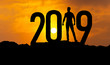 Leinwanddruck Bild - man on mountain is greeting 2019 with power and confidence