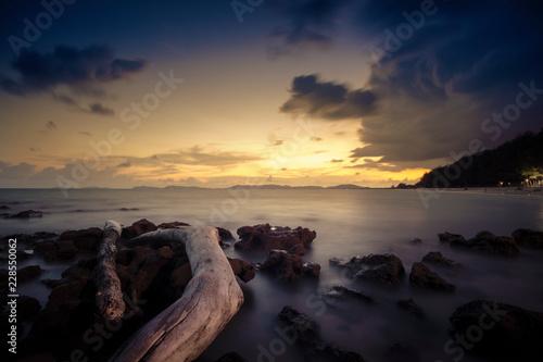 Sunset at Pala beach, Rayong, Thailand