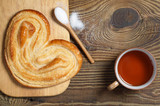 French puff pastry cookie and tea