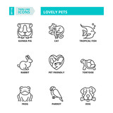 Thin line icons. Lovely pets