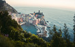 Quadro  Panoramic view at sunset on Vernazza town in Italy. It is one of the five cities that make up the Cinque Terre region