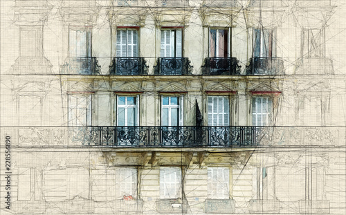 Wall mural Sketch of Parisian facade