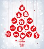 Christmas tree with red balls on bokeh