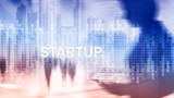 Startup concept with double exposure diagrams blurred background. - 228569055