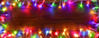Colorful String Lights On Wooden - Christmas Frame