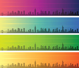 New York Multiple Color Gradient Skyline Banner