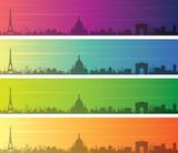 Paris Multiple Color Gradient Skyline Banner