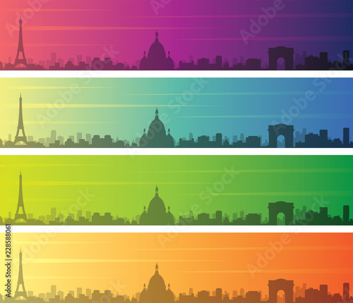 Wall mural Paris Multiple Color Gradient Skyline Banner