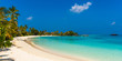 View of the paradise sandy beach, Maldives. Copy space for text.