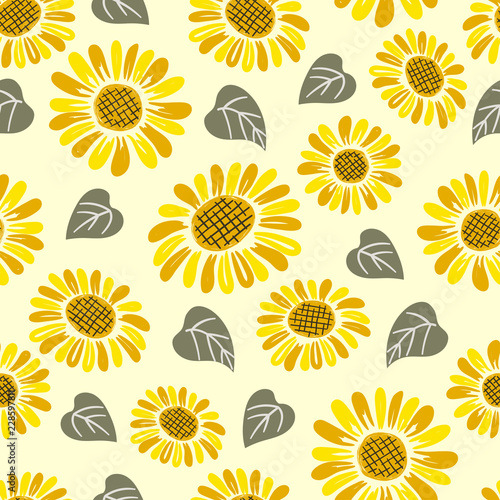 Seamless hand drawn sunflower pattern. - 228597811