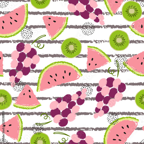 Seamless fruit pattern. Vector background with juicy fruits. - 228598009