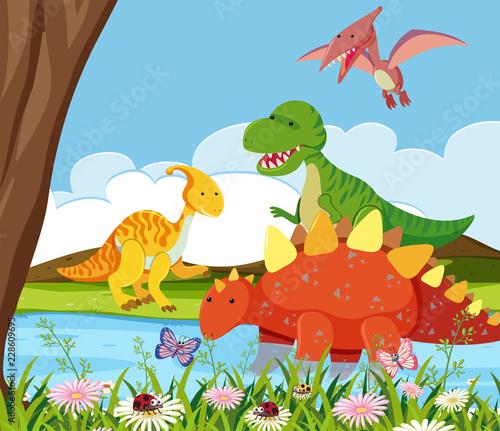 Sticker Flat dinosaur in nature