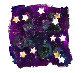 An abstract watercolor background texture with stars on a dark sky