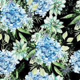 Colorful watercolor pattern with flowers hydrangea, succulents and leaves.  - 228627293
