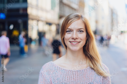 Sticker Friendly attractive young blond woman