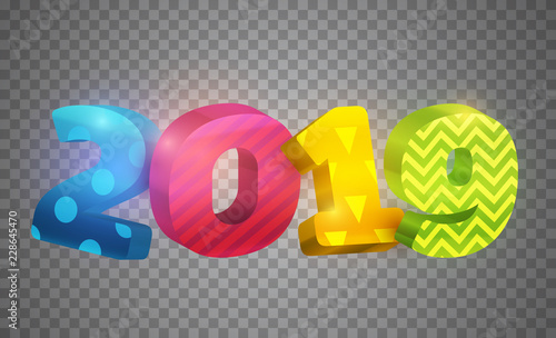 3d Realistic Vector Colorful Number 2019 On Transparent Background